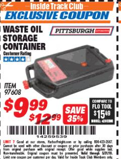 Harbor Freight ITC Coupon WASTE OIL STORAGE CONTAINER Lot No. 97608 Expired: 5/31/18 - $9.99