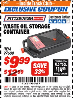 Harbor Freight ITC Coupon WASTE OIL STORAGE CONTAINER Lot No. 97608 Expired: 7/31/18 - $9.99