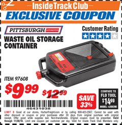 Harbor Freight ITC Coupon WASTE OIL STORAGE CONTAINER Lot No. 97608 Expired: 11/30/18 - $9.99