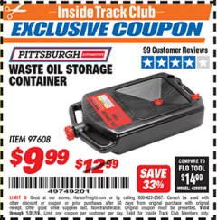 Harbor Freight ITC Coupon WASTE OIL STORAGE CONTAINER Lot No. 97608 Expired: 1/31/19 - $9.99