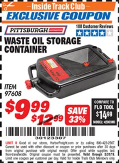 Harbor Freight ITC Coupon WASTE OIL STORAGE CONTAINER Lot No. 97608 Valid Thru: 3/31/19 - $9.99