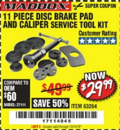 Harbor Freight Coupon 11 PIECE DISC BRAKE PAD AND CALIPER SERVICE TOOL KIT Lot No. 63264 Expired: 10/14/19 - $29.99