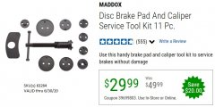 Harbor Freight Coupon 11 PIECE DISC BRAKE PAD AND CALIPER SERVICE TOOL KIT Lot No. 63264 Expired: 6/30/20 - $29.99