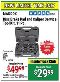 Harbor Freight Coupon 11 PIECE DISC BRAKE PAD AND CALIPER SERVICE TOOL KIT Lot No. 63264 Expired: 11/25/20 - $29.99