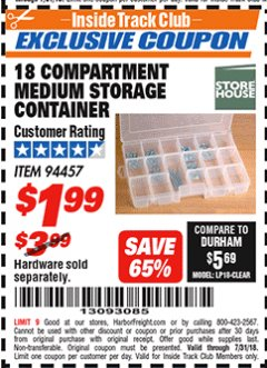 Harbor Freight ITC Coupon 18 COMPARTMENT MEDIUM STORAGE CONTAINER Lot No. 94457 Expired: 7/31/18 - $1.99