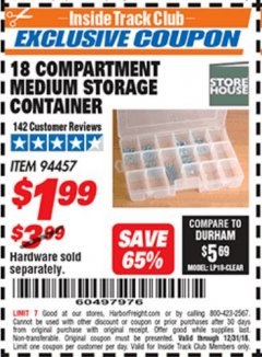 Harbor Freight ITC Coupon 18 COMPARTMENT MEDIUM STORAGE CONTAINER Lot No. 94457 Expired: 12/31/18 - $1.99