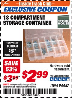 Harbor Freight ITC Coupon 18 COMPARTMENT MEDIUM STORAGE CONTAINER Lot No. 94457 Expired: 9/30/19 - $2.99
