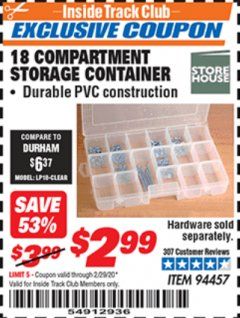 Harbor Freight ITC Coupon 18 COMPARTMENT MEDIUM STORAGE CONTAINER Lot No. 94457 Expired: 2/29/20 - $2.99