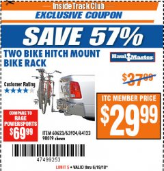 Harbor Freight ITC Coupon TWO BIKE HITCH MOUNT BIKE RACK Lot No. 60623/98019/61423/63924 Dates Valid: 12/31/69 - 6/19/18 - $29.99