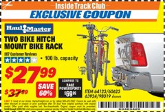 Harbor Freight ITC Coupon TWO BIKE HITCH MOUNT BIKE RACK Lot No. 60623/98019/64123/63924 Expired: 12/31/18 - $27.99