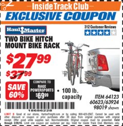 Harbor Freight ITC Coupon TWO BIKE HITCH MOUNT BIKE RACK Lot No. 60623/98019/64123/63924 Valid Thru: 2/28/19 - $27.99