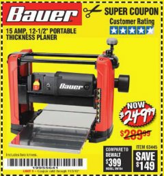 "Harbor Freight Coupon 15 AMP 12 1/2"" PORTABLE THICKNESS PLANER Lot No. 63445 Expired: 11/3/18 - $249.99"