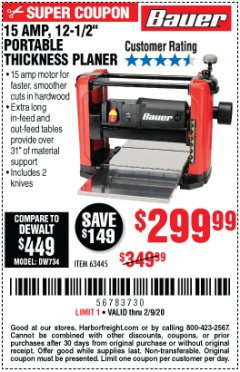 "Harbor Freight Coupon BAUER 15 AMP 12 1/2"" PORTABLE THICKNESS PLANER Lot No. 63445 Expired: 2/9/20 - $299.99"