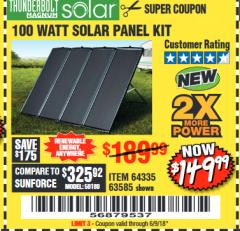 Harbor Freight Coupon 100 WATT SOLAR PANEL KIT Lot No. 63585/64335 Expired: 6/9/18 - $149.99
