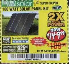 Harbor Freight Coupon 100 WATT SOLAR PANEL KIT Lot No. 63585/64335 Expired: 9/5/18 - $149.99