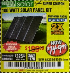 Harbor Freight Coupon 100 WATT SOLAR PANEL KIT Lot No. 63585/64335 Expired: 9/18/18 - $149.99