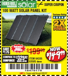 Harbor Freight Coupon 100 WATT SOLAR PANEL KIT Lot No. 63585/64335 Expired: 9/30/18 - $149.99