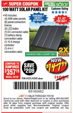 Harbor Freight Coupon 100 WATT SOLAR PANEL KIT Lot No. 63585/64335 Expired: 7/31/18 - $147.99