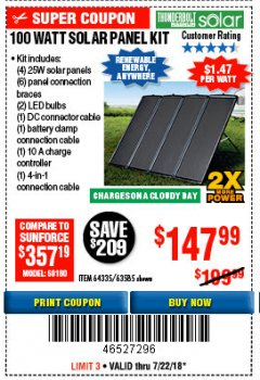 Harbor Freight Coupon 100 WATT SOLAR PANEL KIT Lot No. 63585/64335 Expired: 7/22/18 - $147.99