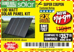 Harbor Freight Coupon 100 WATT SOLAR PANEL KIT Lot No. 63585/64335 Expired: 11/15/18 - $149.99