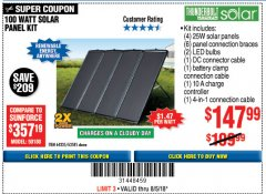 Harbor Freight Coupon 100 WATT SOLAR PANEL KIT Lot No. 63585/64335 Expired: 8/5/18 - $147.99