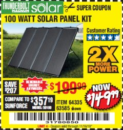 Harbor Freight Coupon 100 WATT SOLAR PANEL KIT Lot No. 63585/64335 Expired: 11/16/18 - $149.99