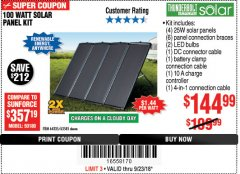 Harbor Freight Coupon 100 WATT SOLAR PANEL KIT Lot No. 63585/64335 Expired: 9/23/18 - $144.99