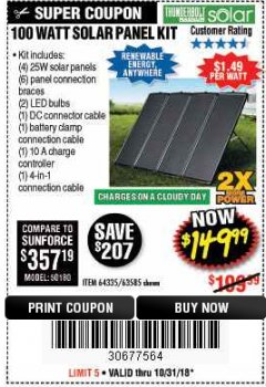 Harbor Freight Coupon 100 WATT SOLAR PANEL KIT Lot No. 63585/64335 Expired: 10/31/18 - $149.99