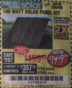 Harbor Freight Coupon 100 WATT SOLAR PANEL KIT Lot No. 63585/64335 Expired: 2/5/19 - $149.99