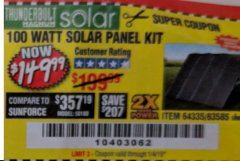 Harbor Freight Coupon 100 WATT SOLAR PANEL KIT Lot No. 63585/64335 Expired: 1/4/19 - $149.99