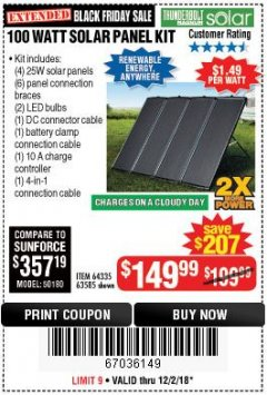 Harbor Freight Coupon 100 WATT SOLAR PANEL KIT Lot No. 63585/64335 Expired: 12/2/18 - $149.99