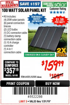 Harbor Freight Coupon 100 WATT SOLAR PANEL KIT Lot No. 63585/64335 Expired: 1/31/19 - $159.99