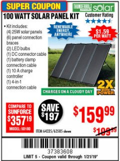 Harbor Freight Coupon 100 WATT SOLAR PANEL KIT Lot No. 63585/64335 Expired: 1/21/19 - $159.99