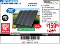 Harbor Freight Coupon 100 WATT SOLAR PANEL KIT Lot No. 63585/64335 Expired: 2/10/19 - $159.99