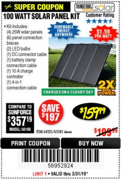Harbor Freight Coupon 100 WATT SOLAR PANEL KIT Lot No. 63585/64335 Valid Thru: 3/31/19 - $159.99