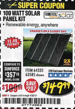 Harbor Freight Coupon 100 WATT SOLAR PANEL KIT Lot No. 63585/64335 Valid Thru: 4/30/19 - $149.99
