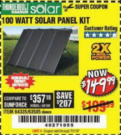 Harbor Freight Coupon 100 WATT SOLAR PANEL KIT Lot No. 63585/64335 Valid Thru: 7/1/19 - $149.99