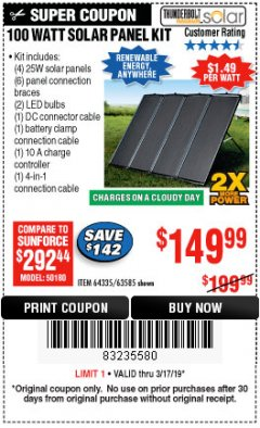 Harbor Freight Coupon 100 WATT SOLAR PANEL KIT Lot No. 63585/64335 Expired: 3/17/19 - $149.99