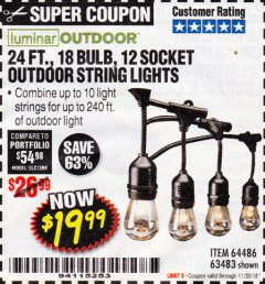 Harbor Freight Coupon 24 FT., 18 BULB, 12 SOCKET OUTDOOR STRING LIGHTS Lot No. 64486/63843/64739 Expired: 11/30/18 - $19.99