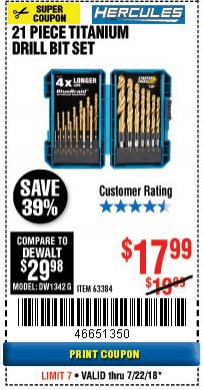 Harbor Freight Coupon HERCULES 21 PIECE TITANIUM DRILL BIT SET Lot No. 63384 Expired: 7/22/18 - $17.99