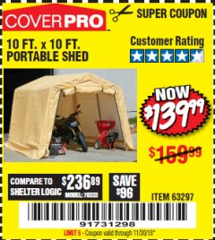 Harbor Freight Coupon 10 FT. X 10 FT. PORTABLE SHED Lot No. 63297 Expired: 11/30/18 - $139.99