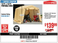 Harbor Freight Coupon 10 FT. X 10 FT. PORTABLE SHED Lot No. 63297 Expired: 9/23/18 - $139.99