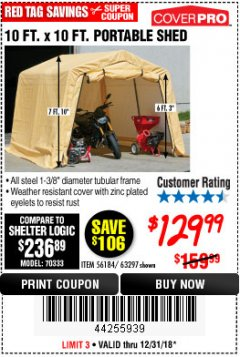 Harbor Freight Coupon 10 FT. X 10 FT. PORTABLE SHED Lot No. 63297 Expired: 12/31/18 - $129.99
