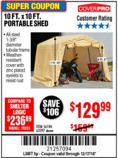 Harbor Freight Coupon 10 FT. X 10 FT. PORTABLE SHED Lot No. 63297 Expired: 12/17/18 - $129.99