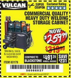 Harbor Freight Coupon VULCAN COMMERCIAL QUALITY HEAVY DUTY WELDING CABINET Lot No. 63179 Expired: 8/5/19 - $259.99
