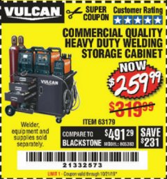 Harbor Freight Coupon VULCAN COMMERCIAL QUALITY HEAVY DUTY WELDING CABINET Lot No. 63179 Expired: 10/21/19 - $259.99