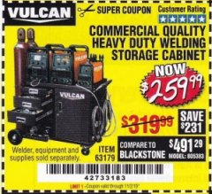 Harbor Freight Coupon VULCAN COMMERCIAL QUALITY HEAVY DUTY WELDING CABINET Lot No. 63179 Valid Thru: 11/2/19 - $259.99