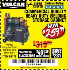 Harbor Freight Coupon VULCAN COMMERCIAL QUALITY HEAVY DUTY WELDING CABINET Lot No. 63179 Valid Thru: 11/12/19 - $259.99