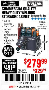 Harbor Freight Coupon VULCAN COMMERCIAL QUALITY HEAVY DUTY WELDING CABINET Lot No. 63179 Expired: 10/13/19 - $279.99