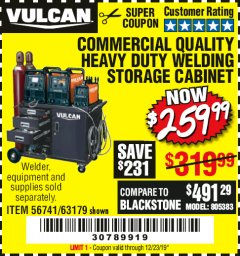 Harbor Freight Coupon VULCAN COMMERCIAL QUALITY HEAVY DUTY WELDING CABINET Lot No. 63179 Valid Thru: 12/23/19 - $259.99
